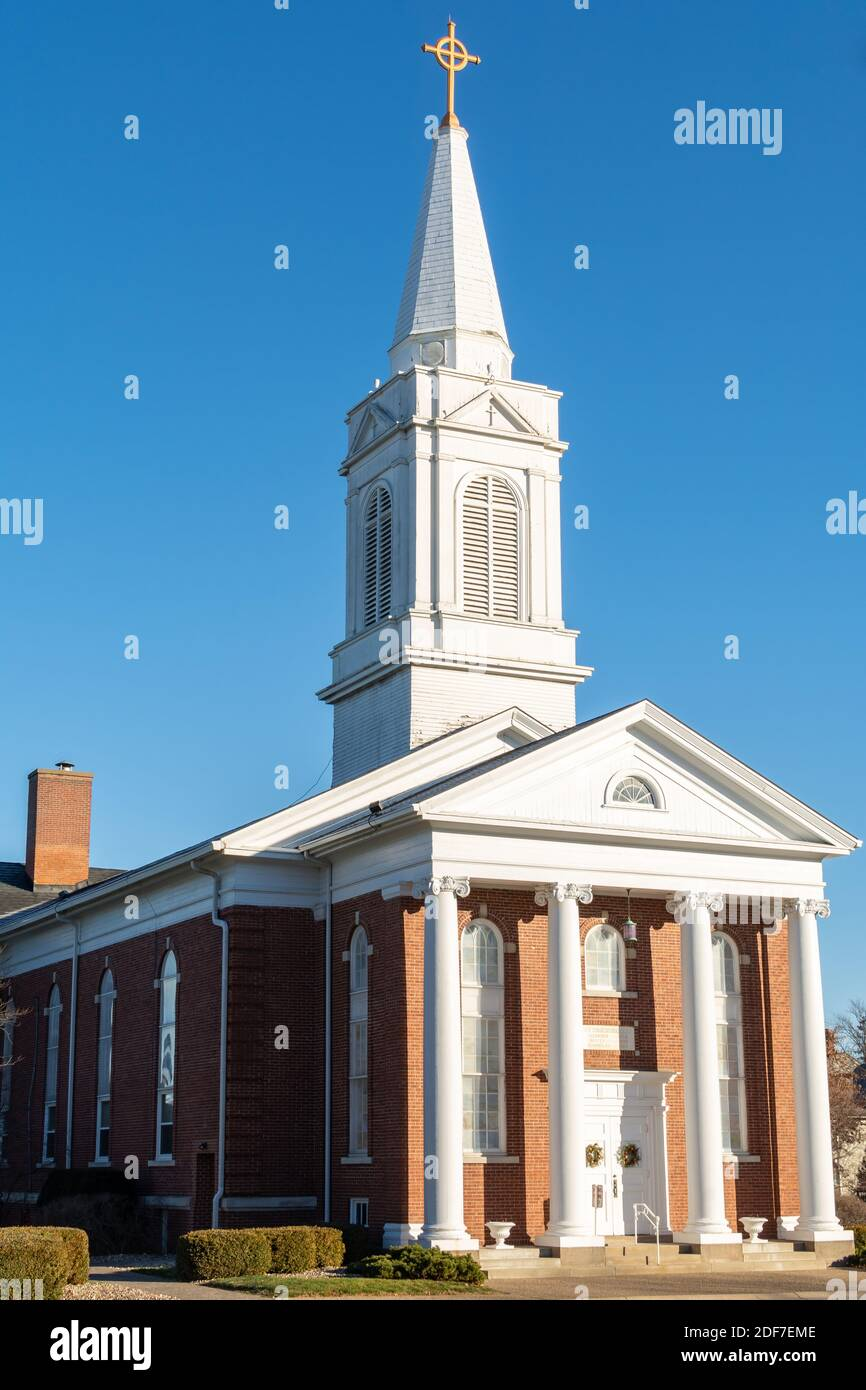 Old church and spire in Geneseo, Henry county, Illinois. Stock Photo