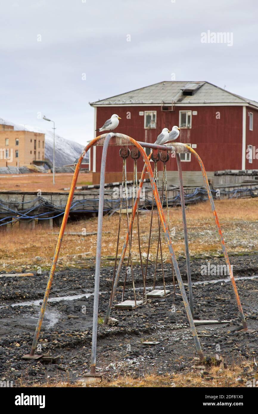 Old Swing On Children S Playground At Pyramiden Abandoned Soviet Coal Mining Settlement On Svalbard Spitsbergen Stock Photo Alamy