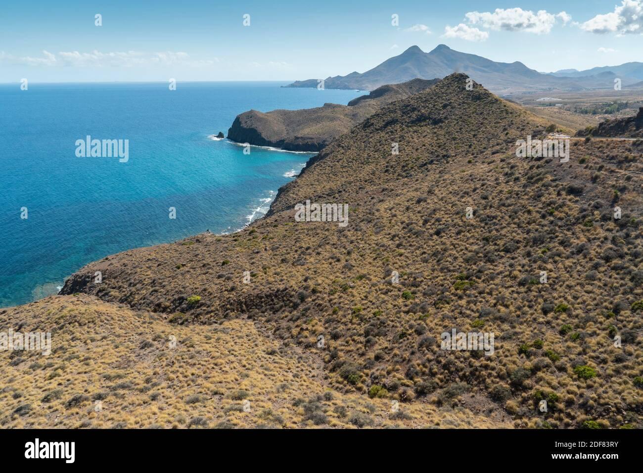 Mediterranean sea from Amatista viewpoint in Cabo de Gata nature reserve Almeria Andalusia Spain. Stock Photo