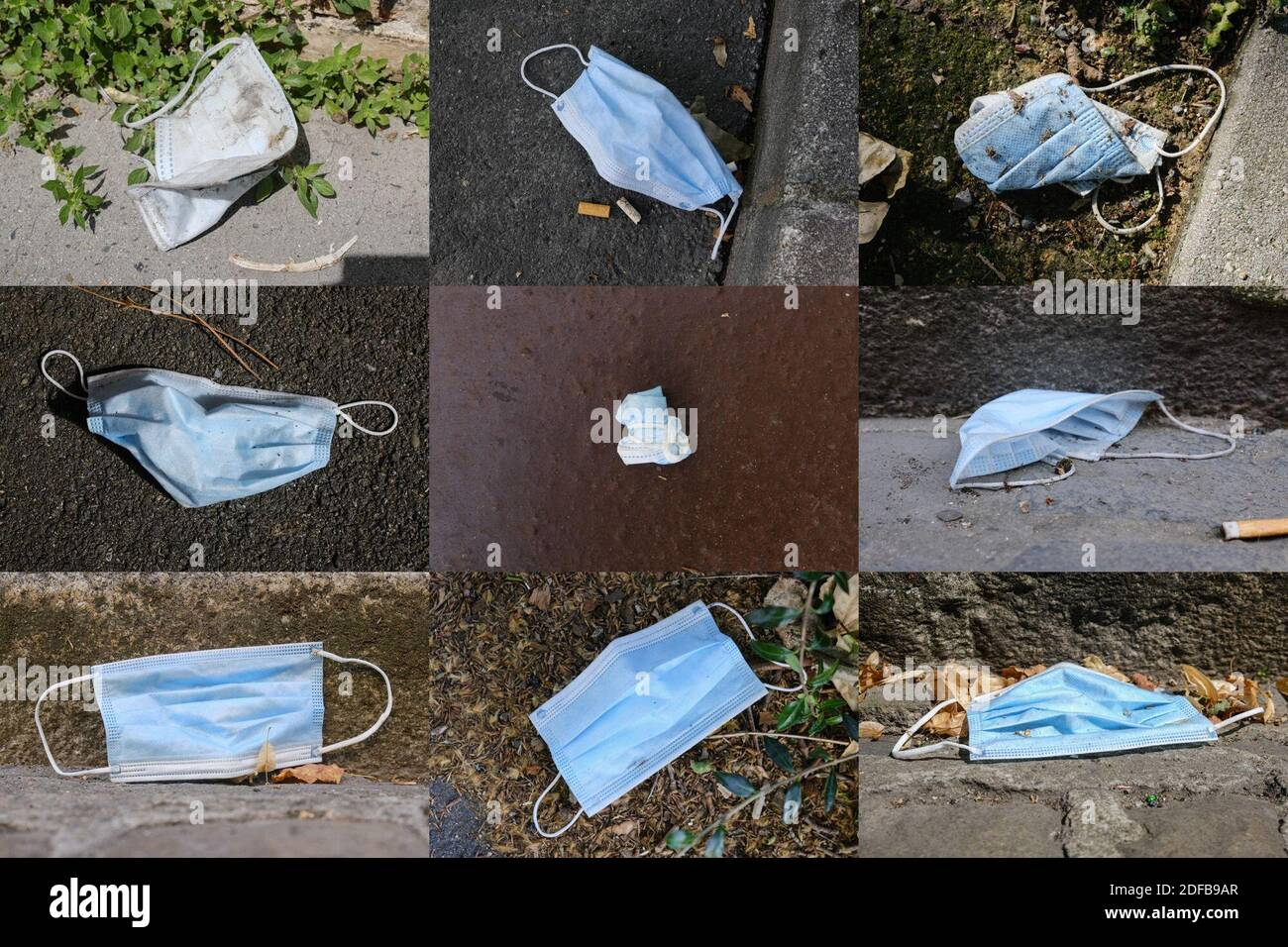 Combo photo of protective face masks discarded on the ground in Toulouse, France, on June 27, 2020. As the use of masks and gloves sky-rocketed to protect the humanity from the coronavirus pandemic, their impact on environment also rose, with the worrying consumption of plastic and its disposal. Many fear the progress of eliminating single-use plastic is now being undone, as these protection tools are already being seen polluting the environment. Photo by Patrick Batard/ABACAPRESS.COM Stock Photo
