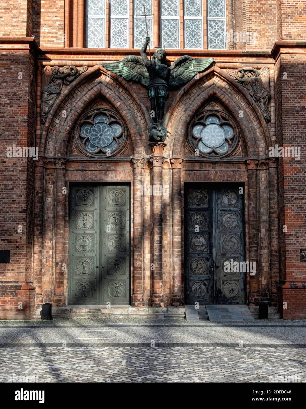 The Friedrichswerder Kirche entrance. Neo-Gothic red Brick church by architect Karl Friedrich Schinkel built 1824-1831.Werderscher Markt, Mitte,Berlin Stock Photo