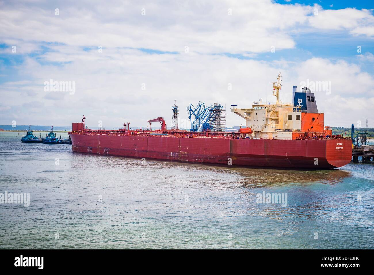 STRIDE, Crude Oil Tanker at Fawley Marine Terminal on Southampton Water. Southampton, Hampshire, England, United Kingdom, Europe Stock Photo