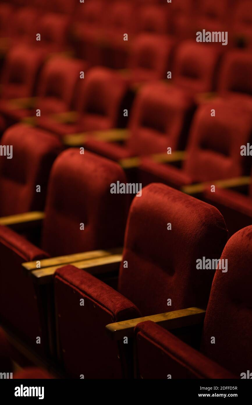 red velvet seats for spectators in the theater or cinema Stock Photo