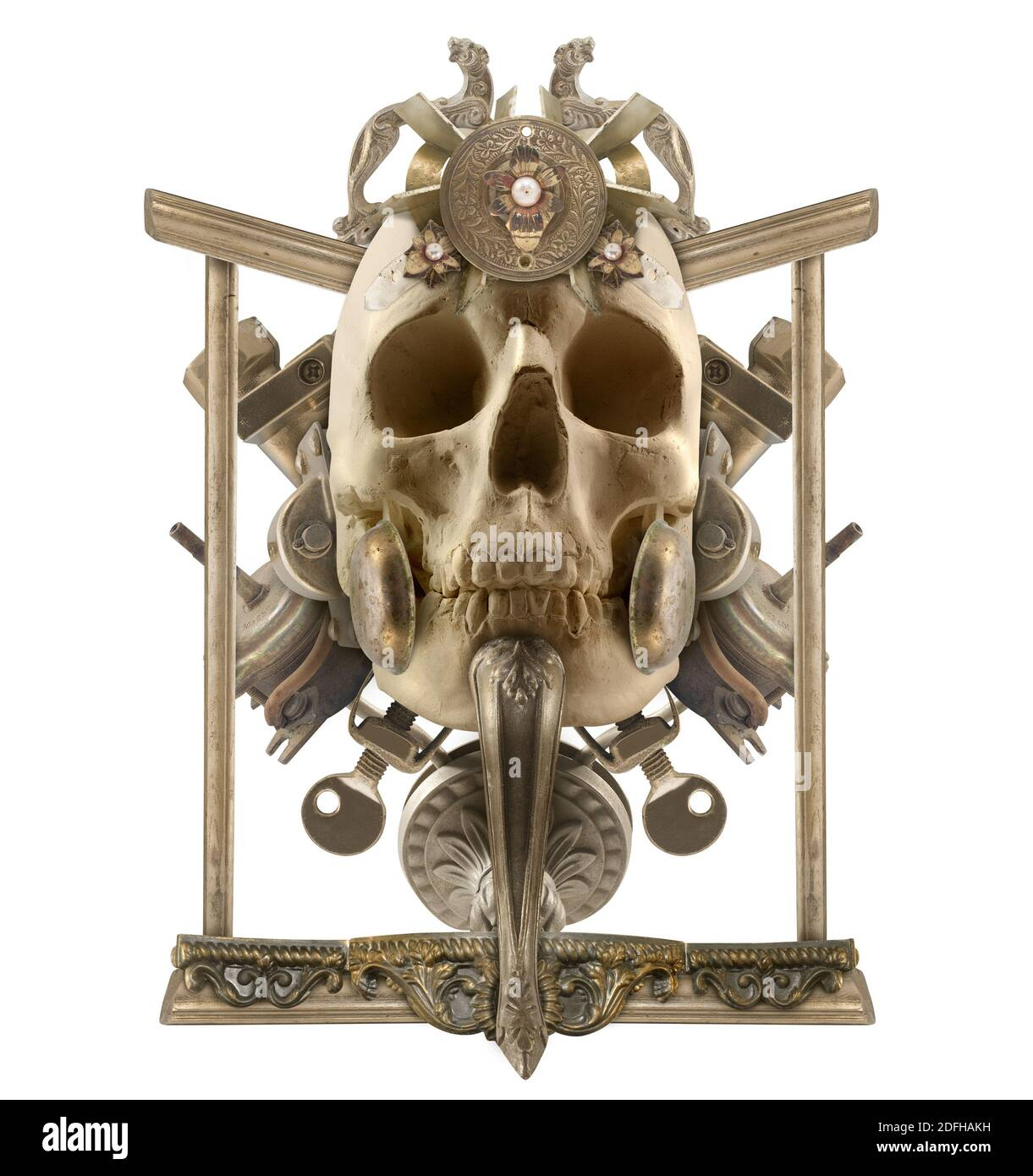 Isolated detailed copper skull composition with antique etched elements, border & jewelry on white background. Stock Photo