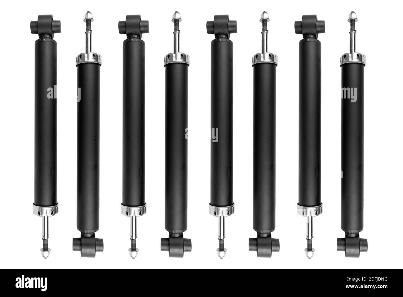 Set car shock absorber isolated on white background. New auto shock absorber from a car on a white background with clipping path. Car spare parts Stock Photo