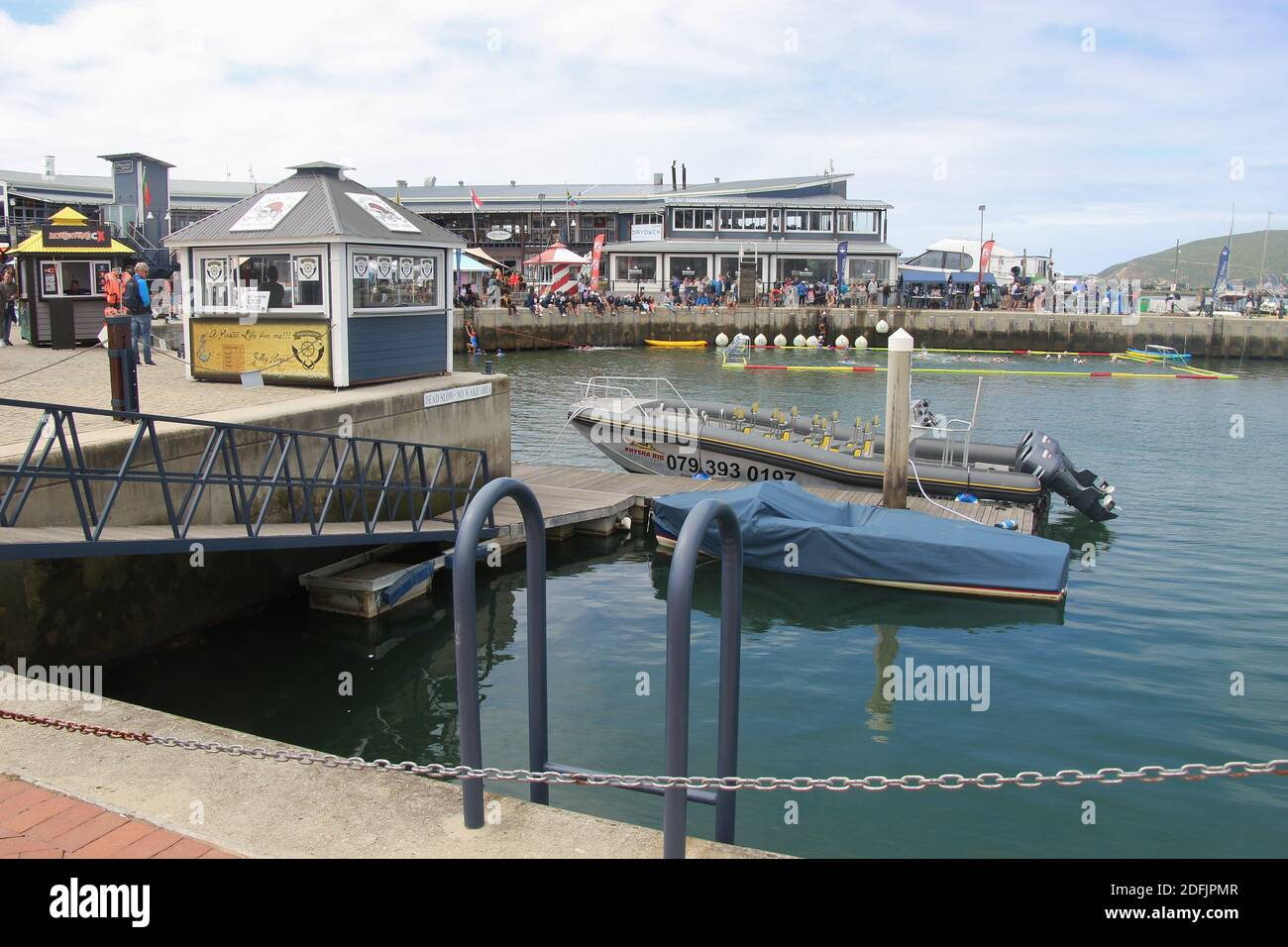 Knysna, South Africa: The Knynsa waterfront with marina, restaurants and shops, by the Knysna lagoon. Garden Route, South Africa, Africa. Stock Photo