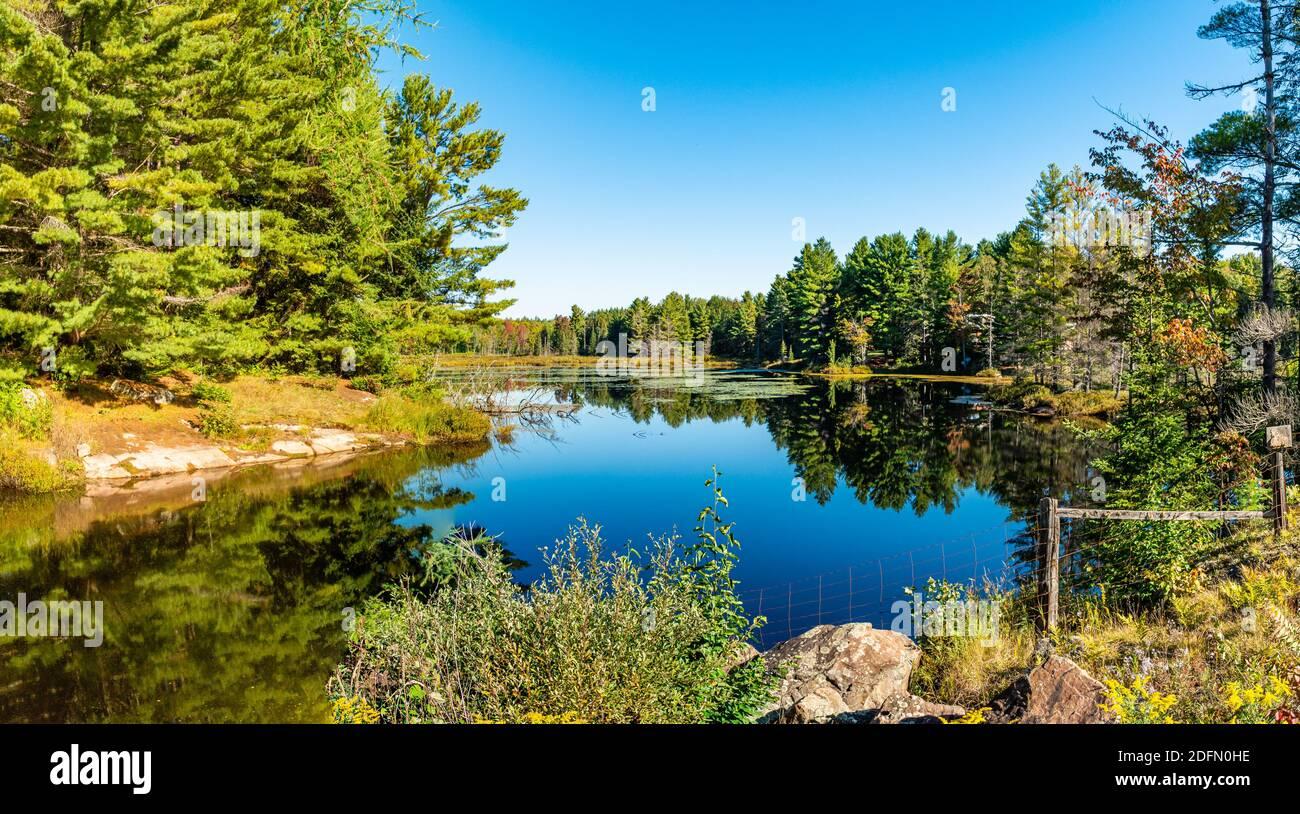 Hawk Lake Log Chute Algonquin Highlands Haliburton County Ontario Canada in summer Stock Photo