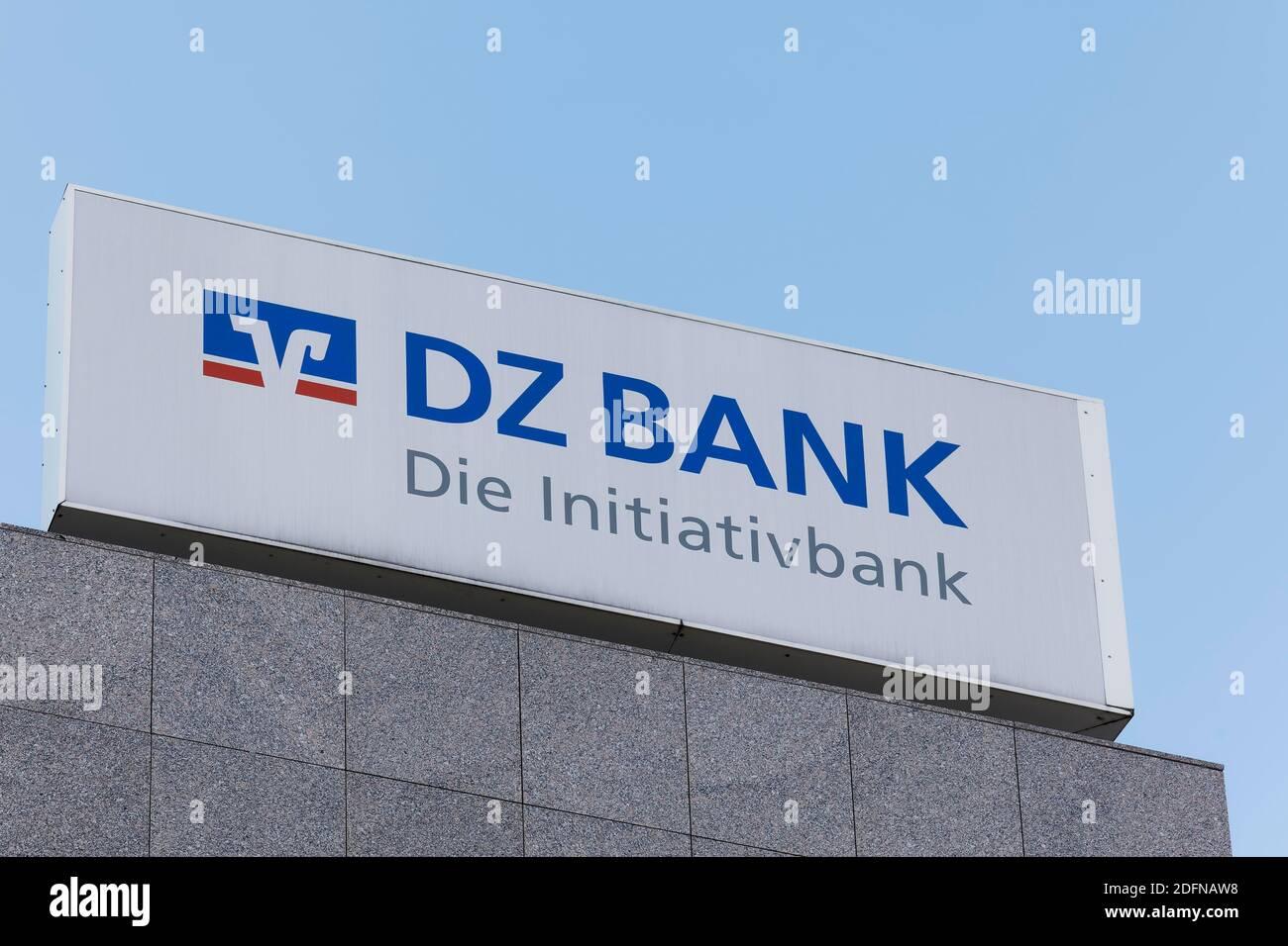 DZ Bank AG, Deutsche Zentral-Genossenschaftsbank, logo at the Duesseldorf branch, North Rhine-Westphalia, Germany Stock Photo
