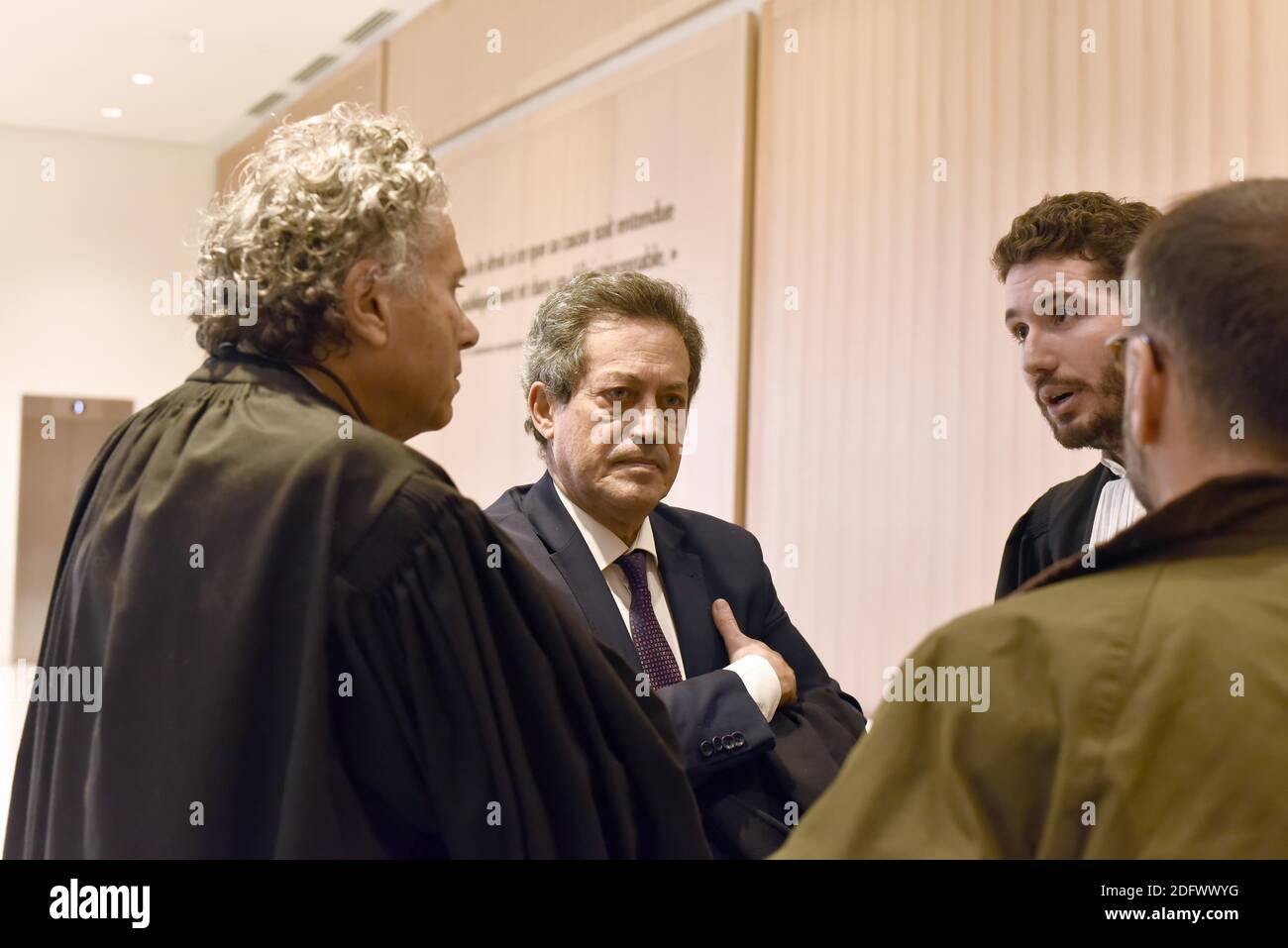 Robert Menard, William Goldnadel and Georges Fennec arriving at the High Court for the trial of 'Mur des cons' in Porte de Clichy, Paris, France, on December 04, 2018. Photo by Patrice Pierrot/ABACAPRESS.COM Stock Photo