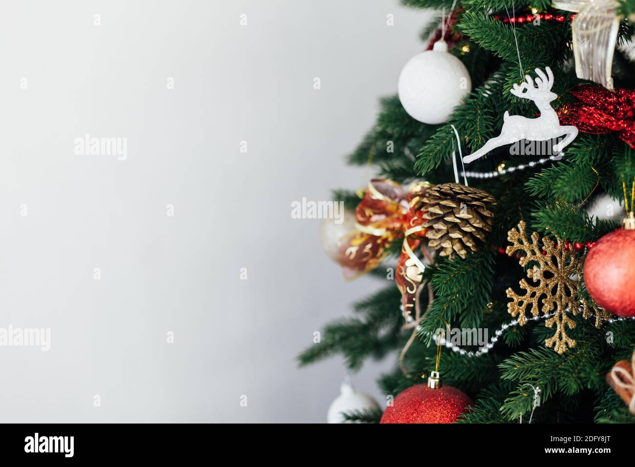 Twigs Christmas Tree Decor New Year S Background Place For Inscription Stock Photo Alamy