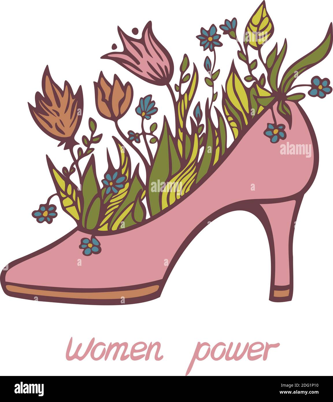 """Vector illustration of high heels with blooming flowers and """"Women Pertaining To High Heel Template For Cards"""