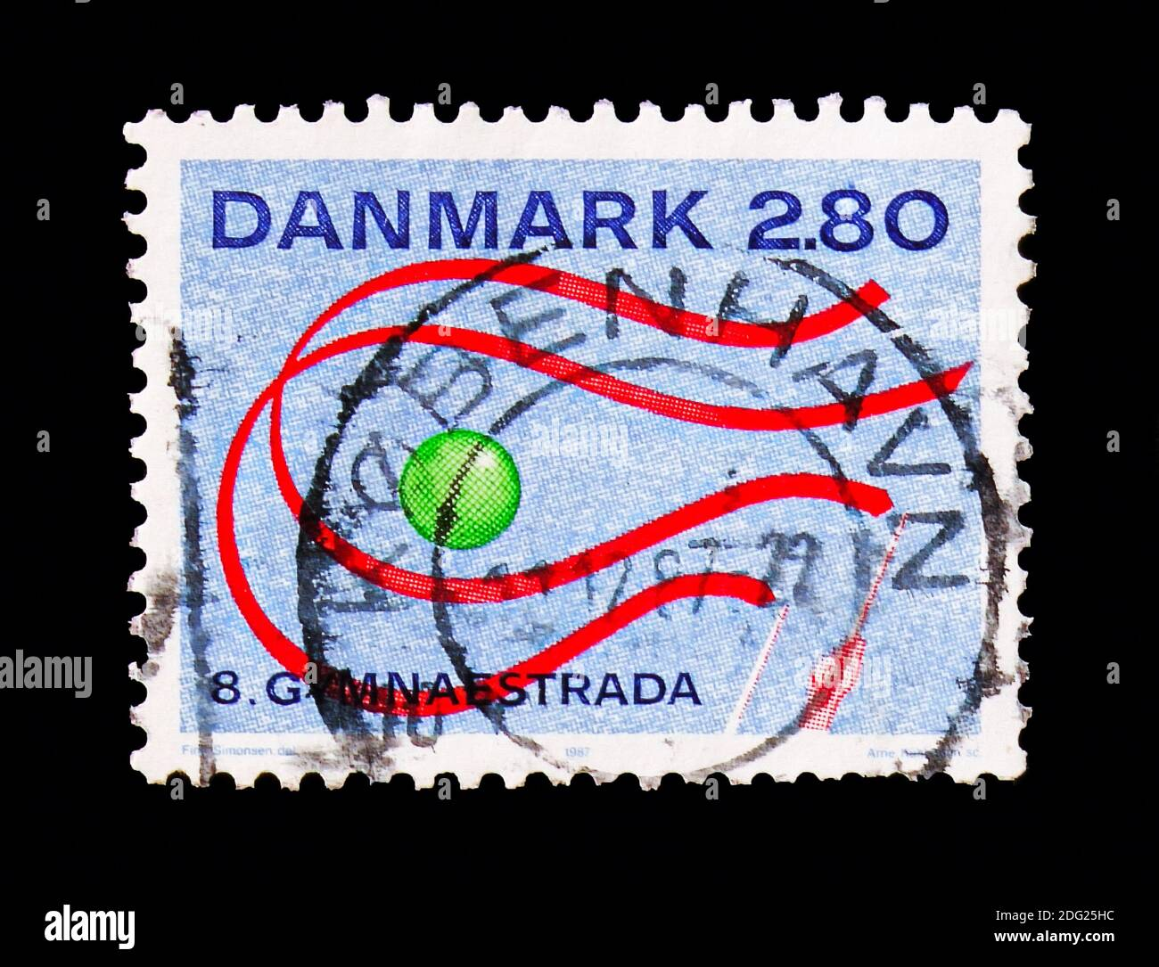MOSCOW, RUSSIA - AUGUST 18, 2018: A stamp printed in Denmark shows World Gymnastics Show, Gymnaestrada serie, circa 1987 Stock Photo