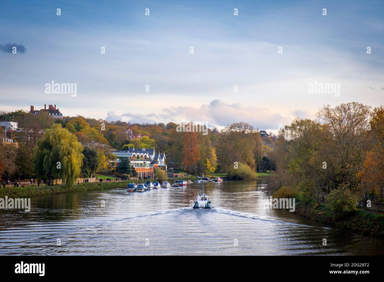 Europe, UK, London, Richmond, an affluent residential suburb in west London, Thames River, Autumn, boats on the river, trees in fall, tranquil scene Stock Photo