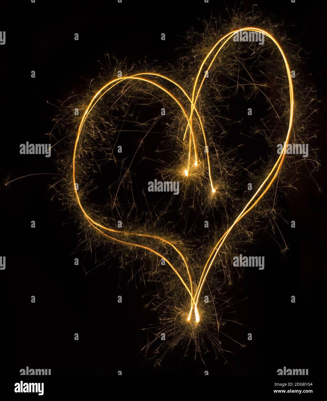 Sparkler Heart Symbol Stock Photo
