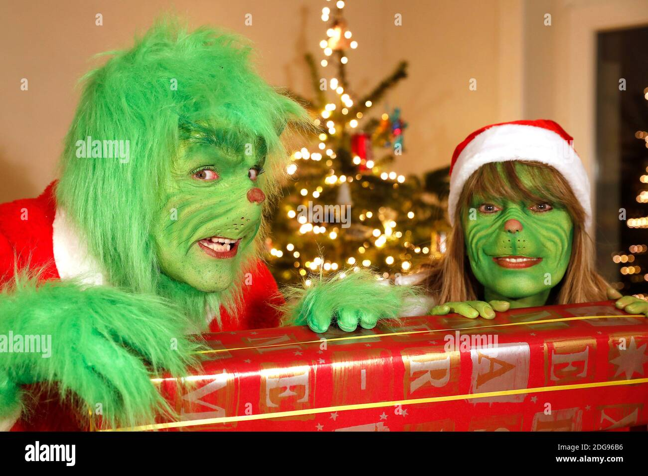 GEEK ART - Bodypainting and Transformaking: 'The Grinch steals Christmas' photoshooting with Enrico Lein as Grinch and Maria Skupin as Mrs. Grinch at Villa Czarnecki in Hameln on December 7, 2020 - A project by the photographer Tschiponnique Skupin and the bodypainter Enrico Lein Stock Photo