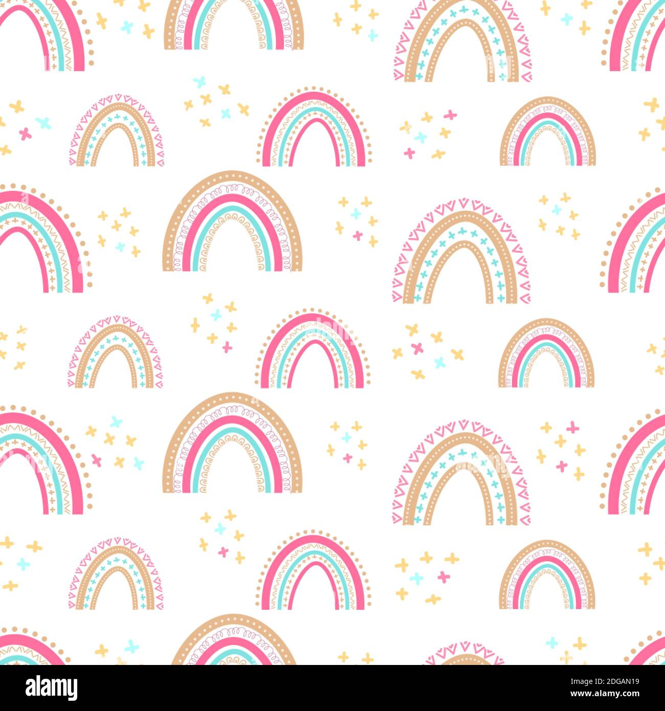 Seamless baby pattern with hand drawn rainbows. Simple illustration on an isolated background. Can be used for packaging. textiles, stationery and clo Stock Vector