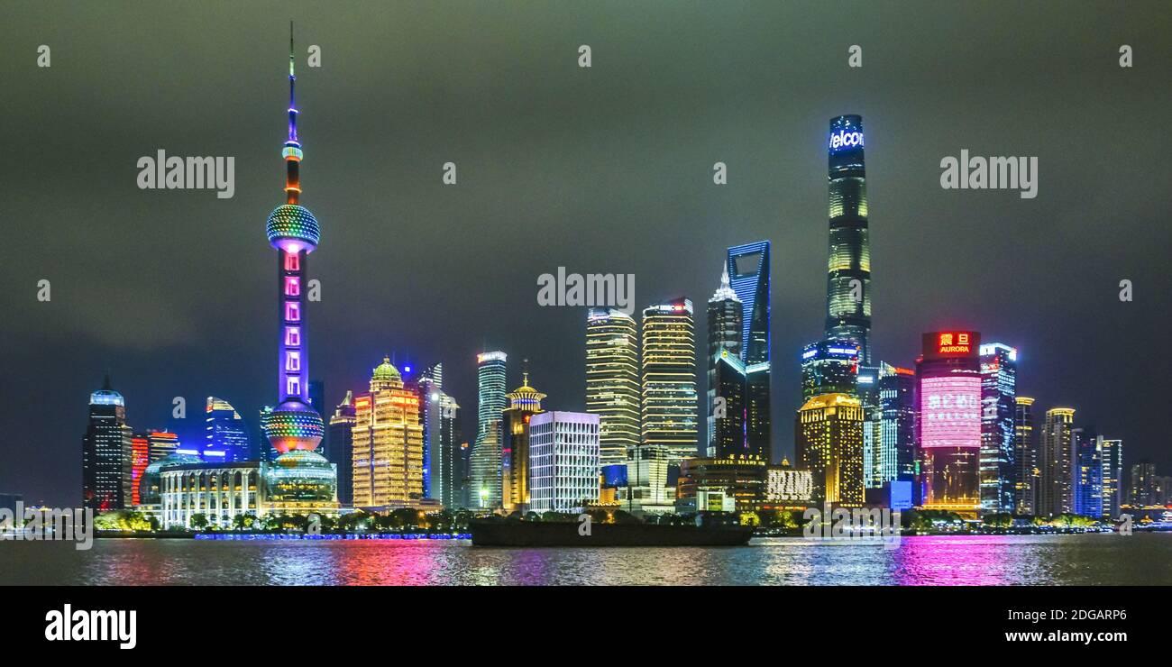 Pudong District Night Scene, Shanghai, China Stock Photo
