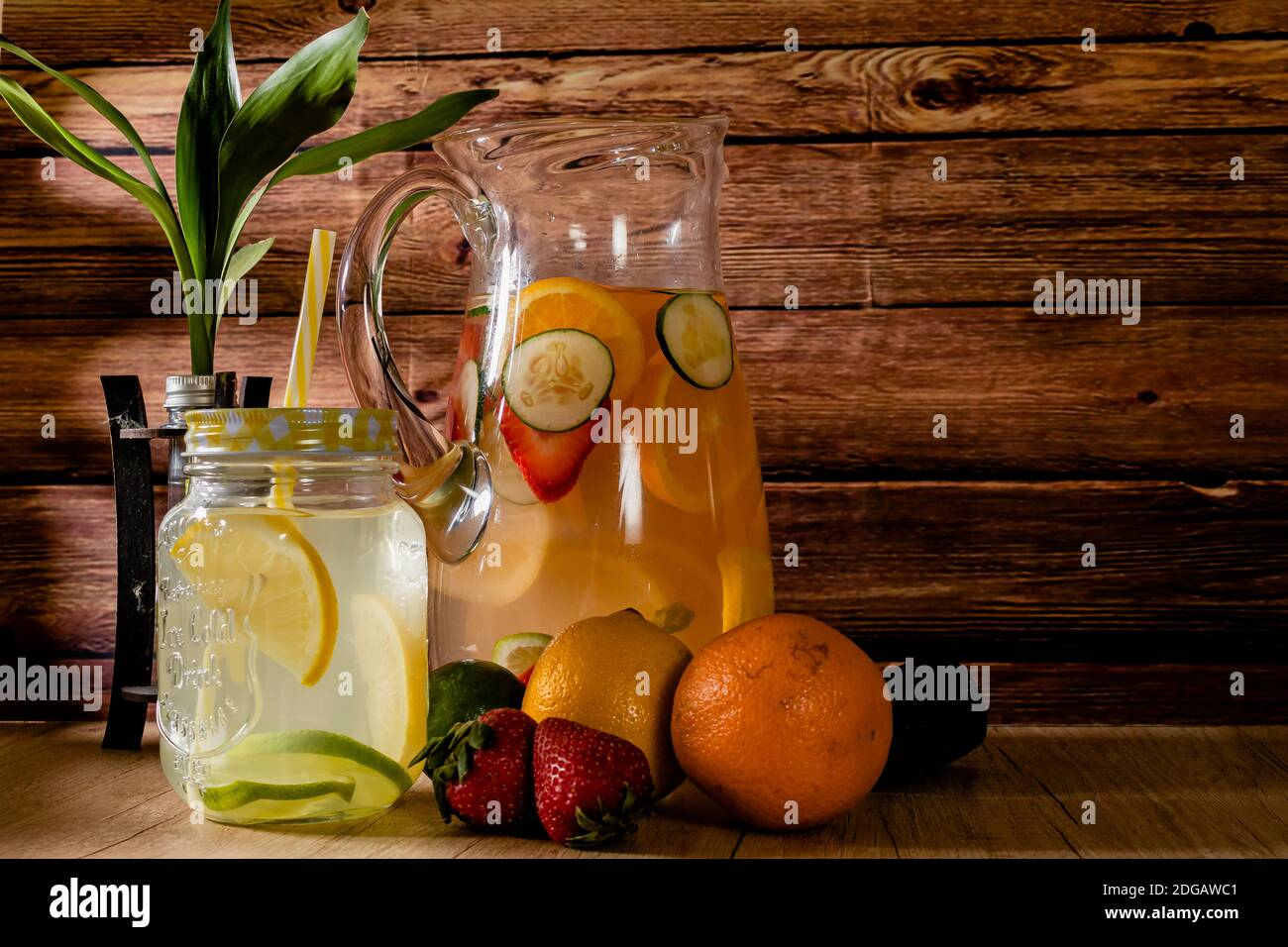 Large Glass Pitcher With Citrus Flavored Water And Homemade Lemonade Glass Or Jar With Drink Lid And Straw Freshness Health And Non Alcoholic Stock Photo Alamy