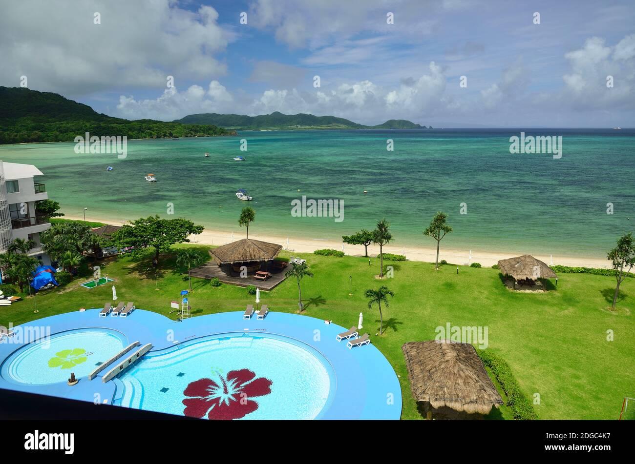 Ishigaki Seaside Hotel, Swimming Pool, In the Rain, Kabira, Ishigaki, Yahema Islands, Okinawa, Ryukyu Islands, Japan Stock Photo
