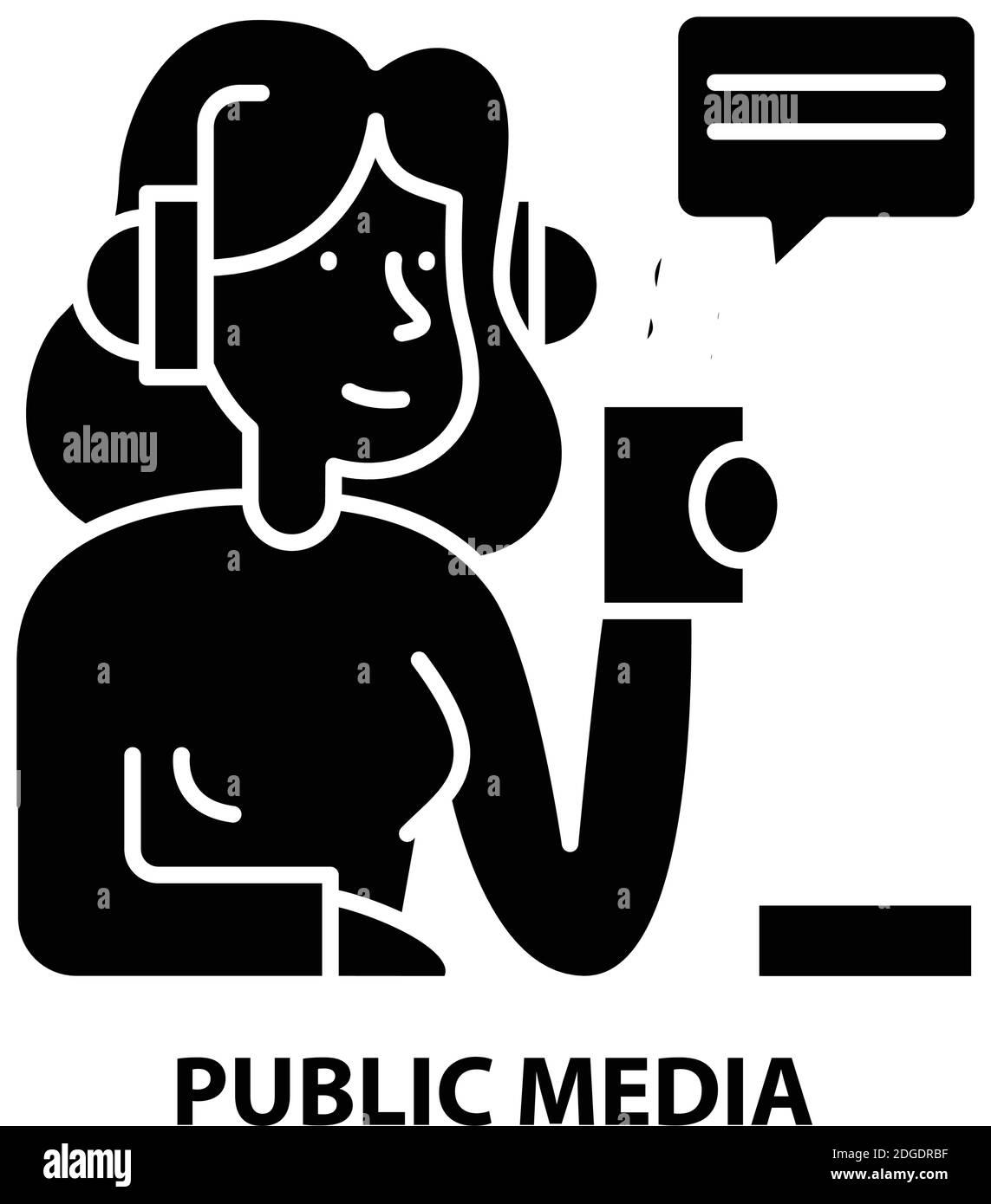 public media icon, black vector sign with editable strokes, concept illustration Stock Vector