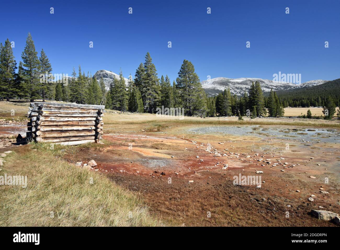 Soda Springs in Tuolumne Meadows, Yosemite National Park, USA.  Lembert Dome can be seen behind the tree line. Minerals have caused the colours. Stock Photo
