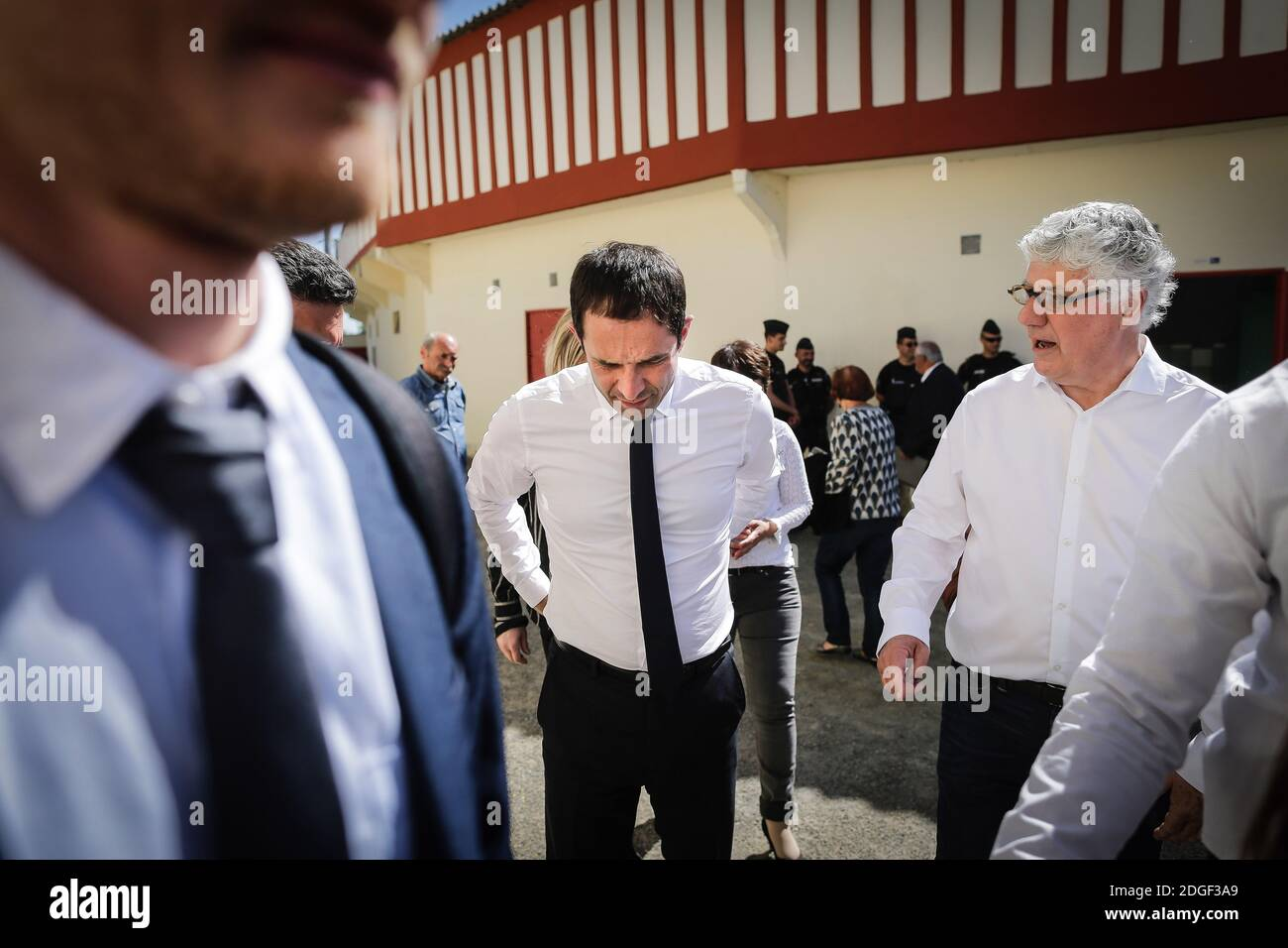 "Benoit Hamon, candidate of the left-wing party ""Parti Socialiste"" for presidential elections 2017 attends a Landaise race ( course landaise) in Aignan, France on April 17, 2017. Photo by Thibaud Moritz/ABACAPRESS.COM Stock Photo"