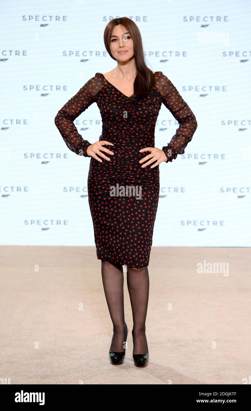 Monica Bellucci attends the BOND 24 live announcement to mark the start of production on the 24th Bond film held at Pinewood Studios, London   The title and cast of the 24th Bond film were revealed, marking the start of principal photography on Monday 8th December Stock Photo