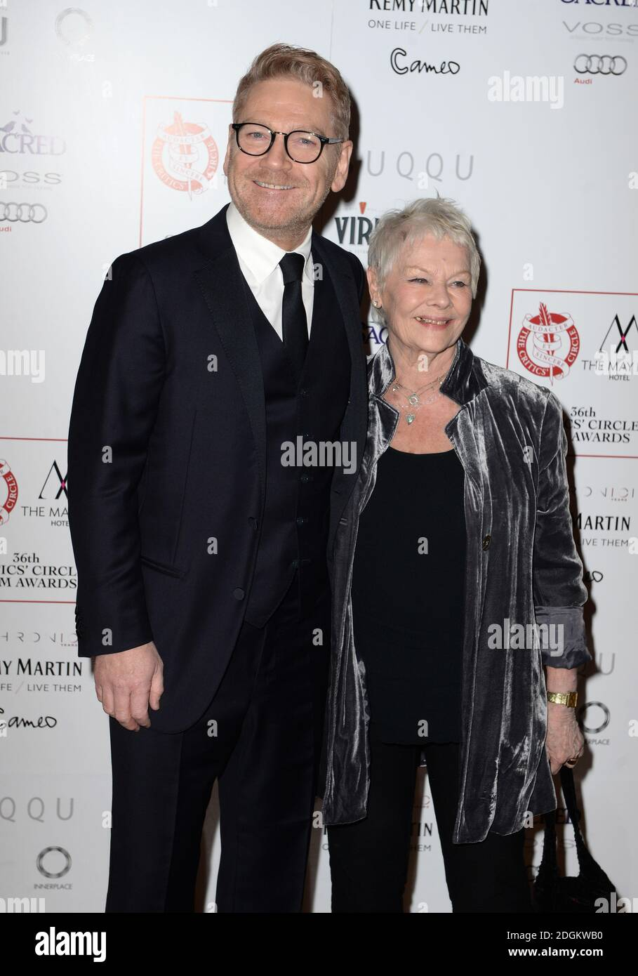 Kenneth Branagh and Dame Judi Dench arriving at the Critics Circle Film Awards 2016, the May Fair Hotel, London.  Stock Photo