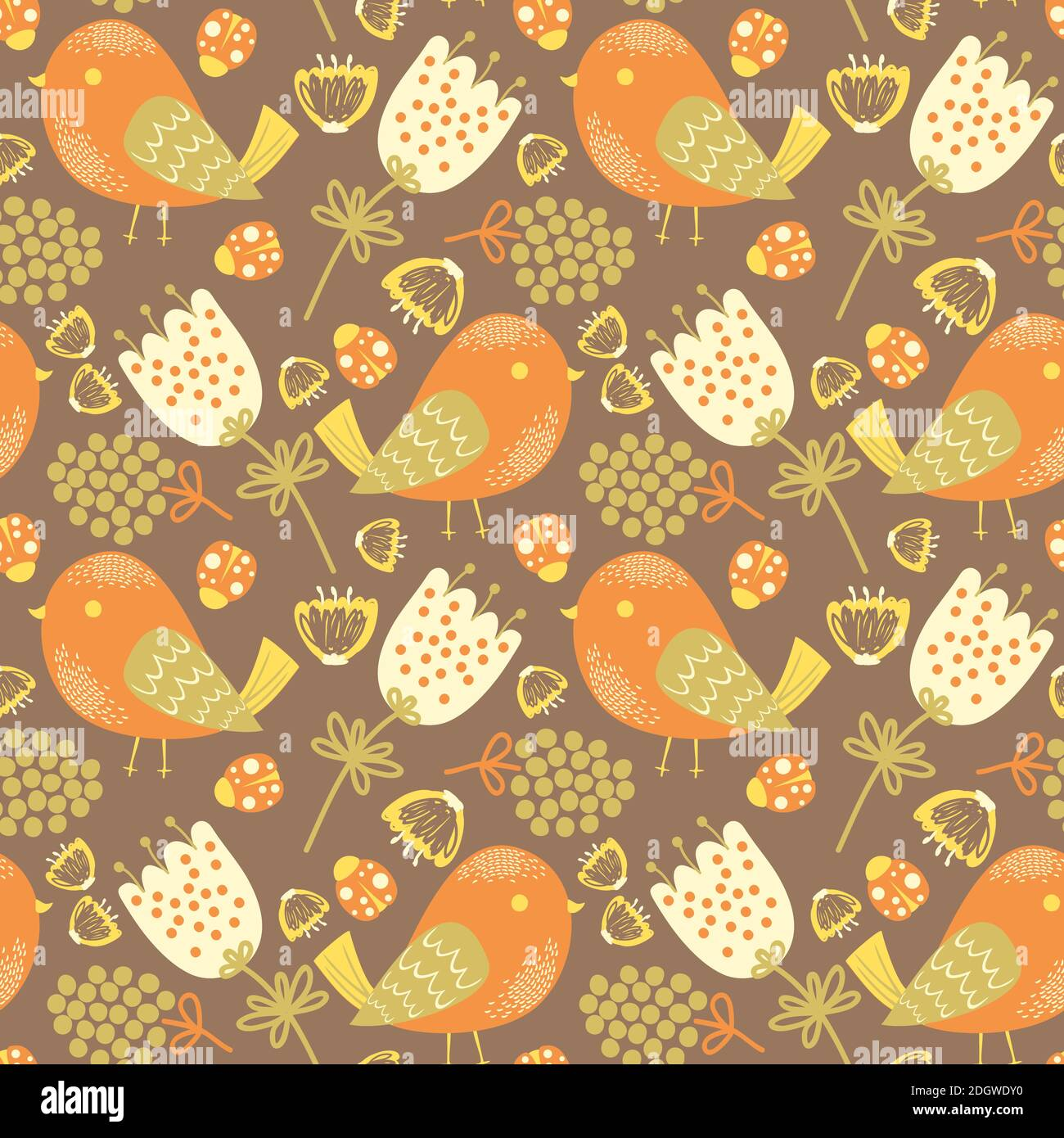 Vector Seamless pattern with birds, flowers and ladybugs Stock Vector