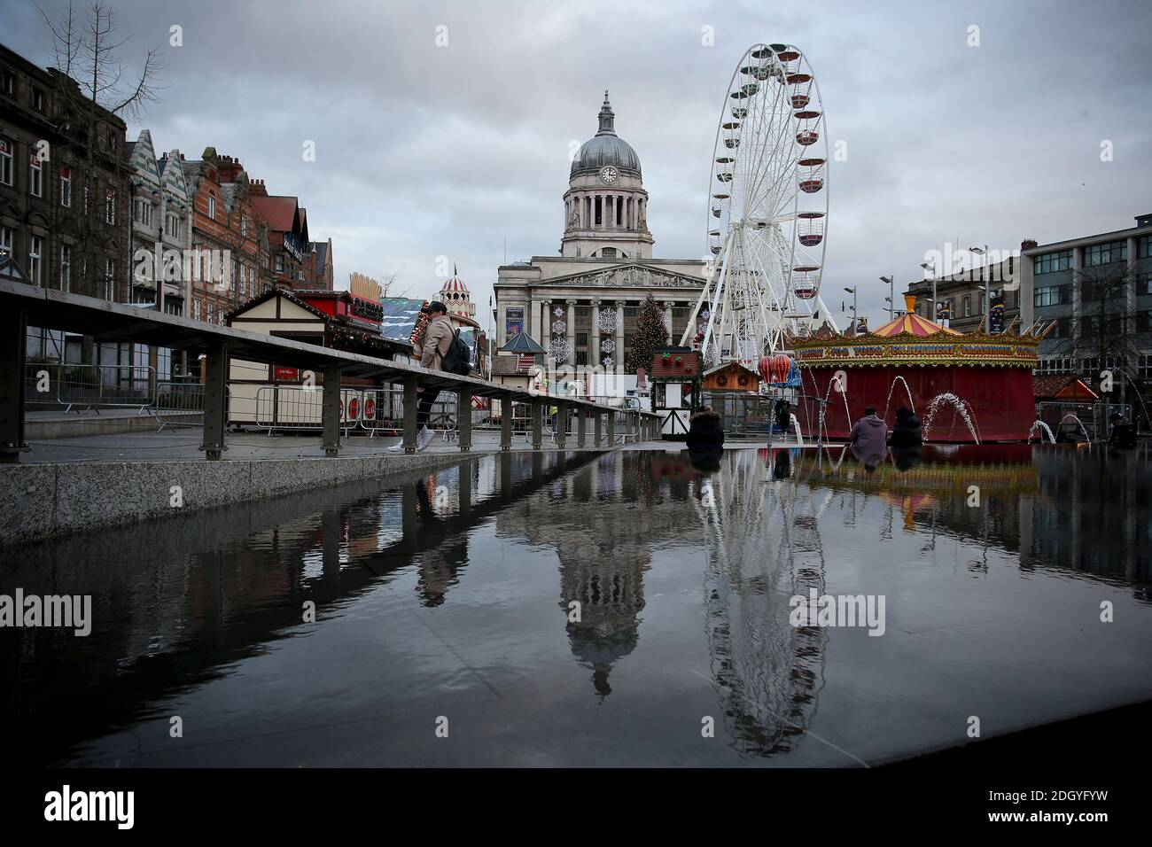 A view of the Christmas market and attractions in Old Market Square, Nottingham, Wednesday 2nd December 2020. Stock Photo