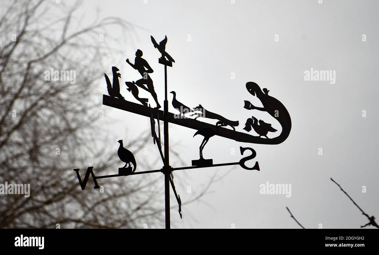 GV's of the village of Kintbury, near Hungerford, Berkshire - Curious weathervane, Wednesday 2nd December 2020. Stock Photo