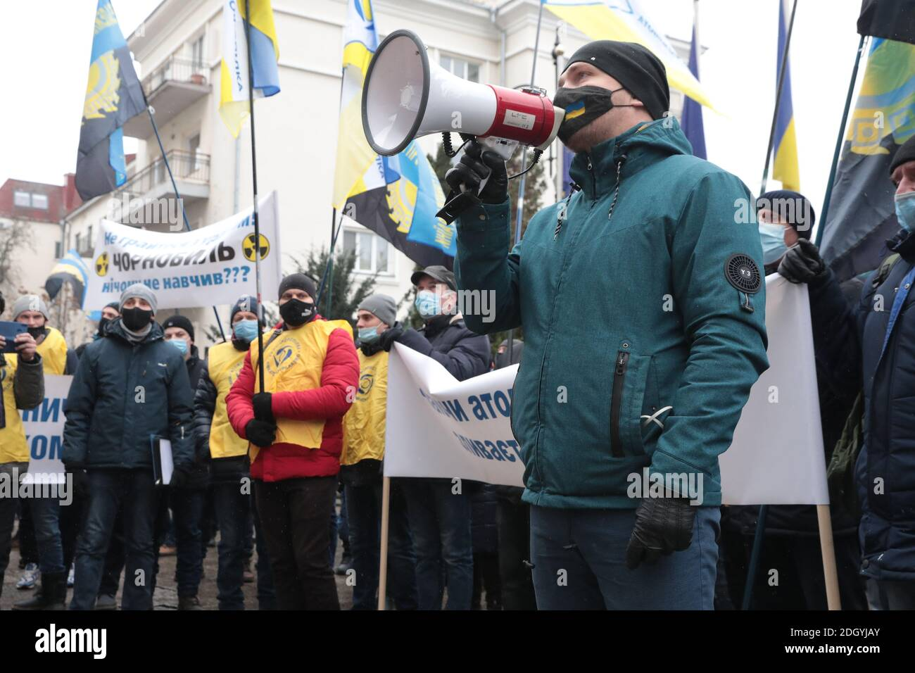 Non Exclusive: KYIV, UKRAINE - DECEMBER 9, 2020 - Workers of the Eastern Mining and Processing Plant State Enterprise demand to pay out wage arrears o Stock Photo