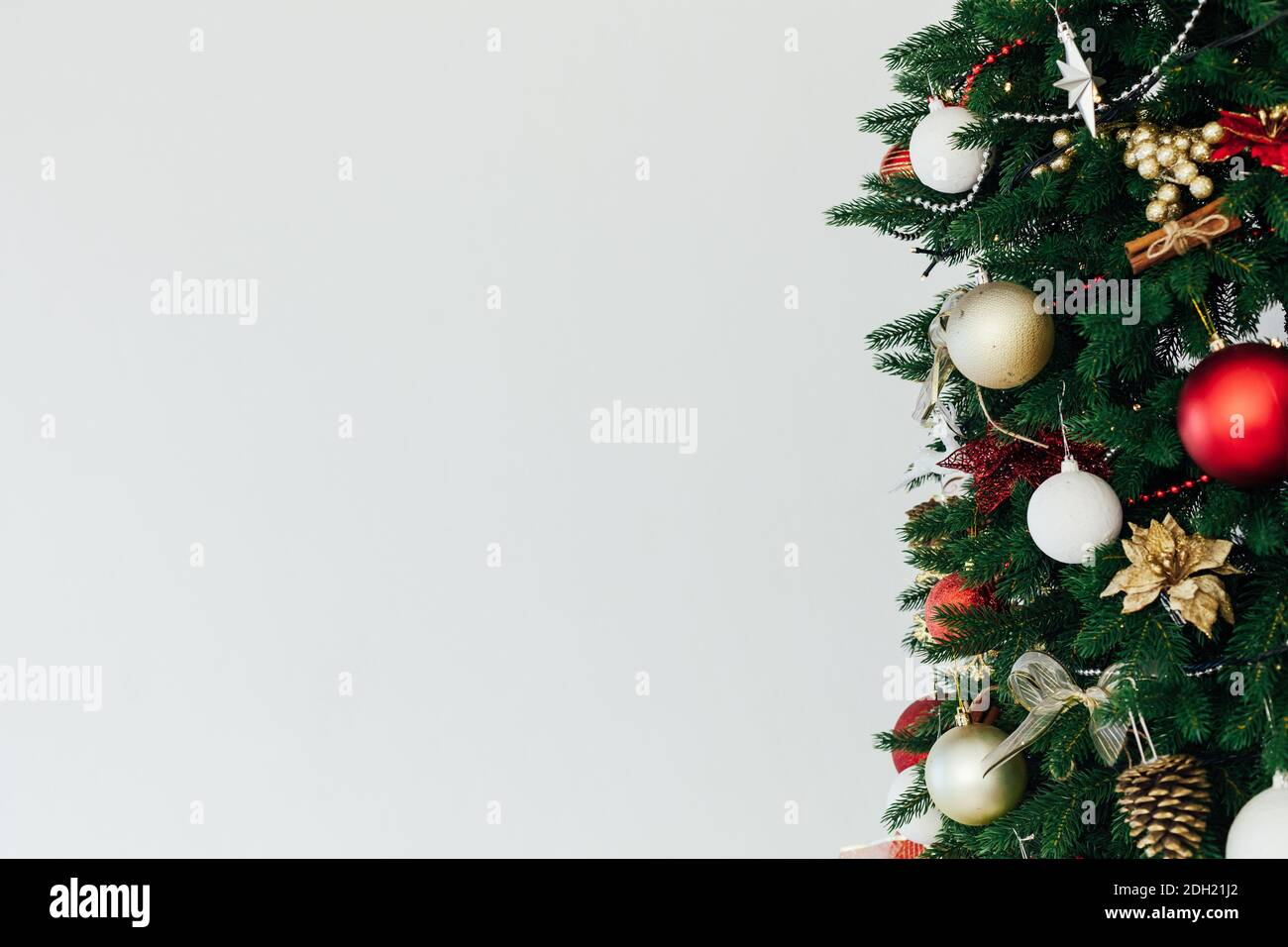 Twigs Christmas Tree Decor Garland Interior New Year Place For Inscription Stock Photo Alamy