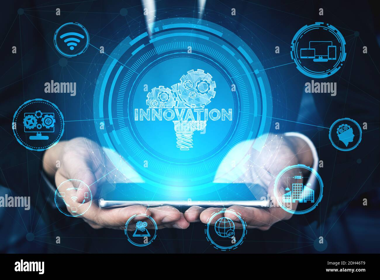 Innovation Technology for Business Finance Concept. Modern graphic interface showing symbol of innovative ideas thinking, research and development Stock Photo