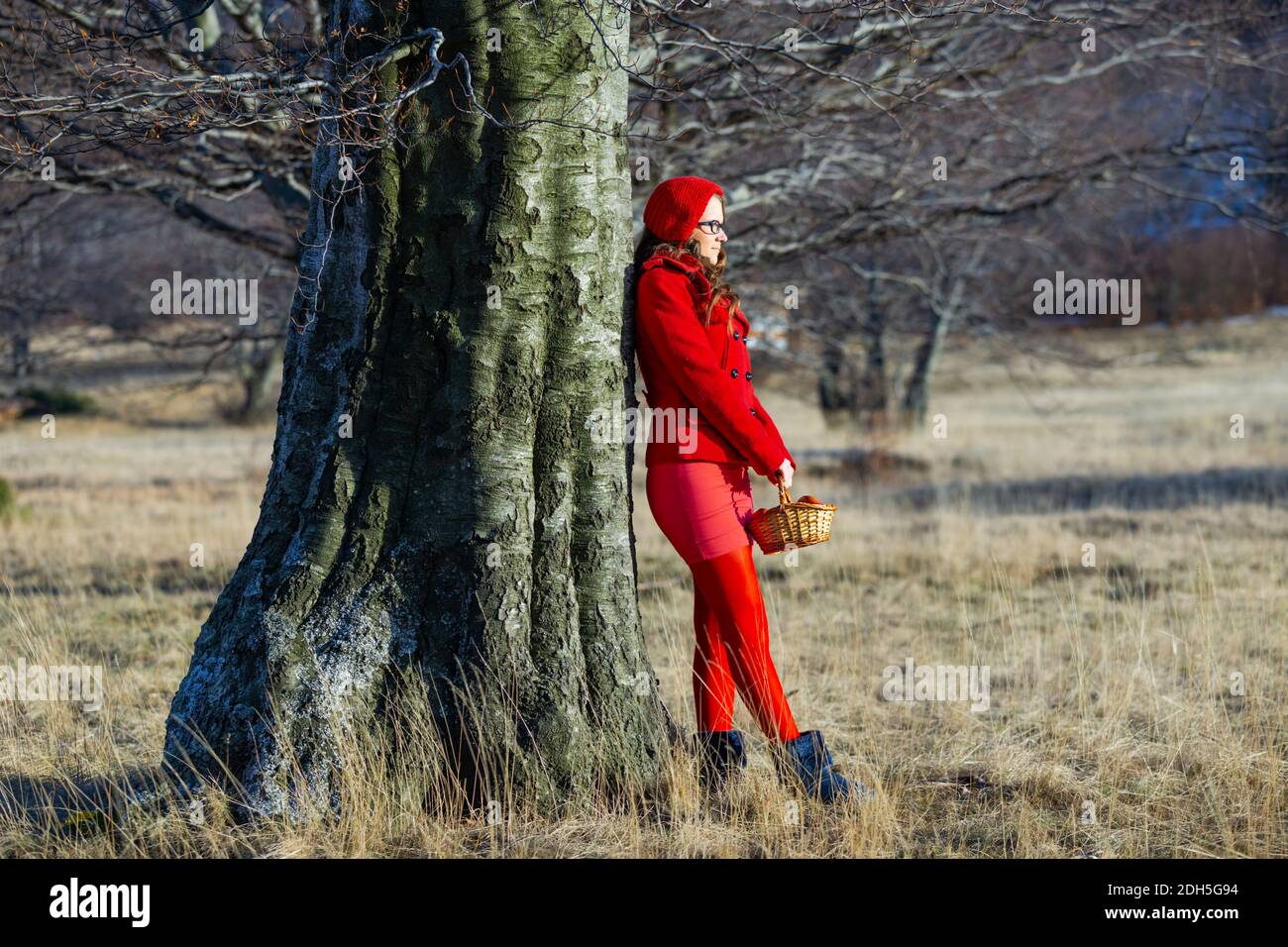 Teengirl countrygirl in countryside Red clothing outfit aka Red Riding Hood with backet in hands holding hold hand standing inclined on big tree Stock Photo