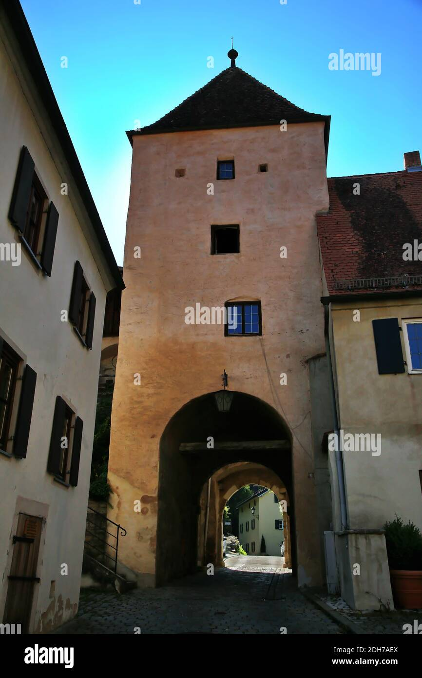 Oberes Tor is a sight of Pappenheim in Bavaria Stock Photo