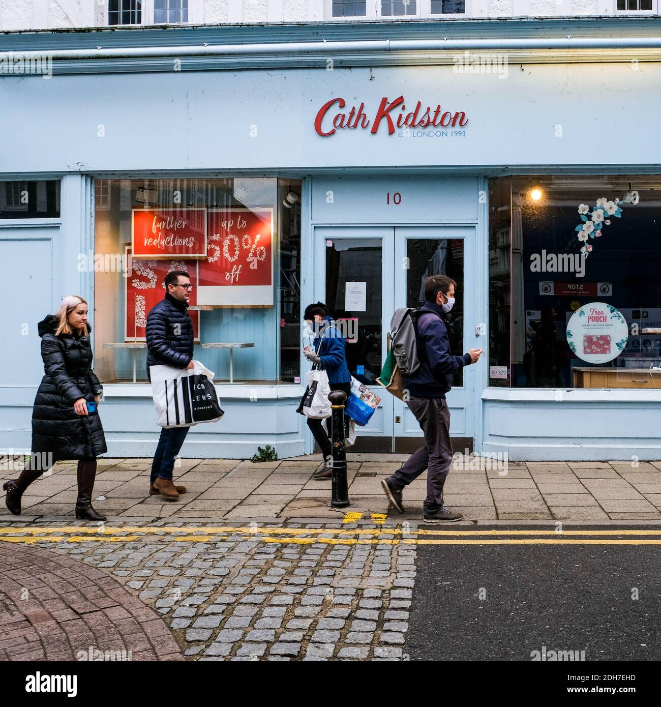 Kingston London, December 09 2020, Shoppers Walking Past A Closed Cath Kidston Childrens Fashion Retailer Stock Photo