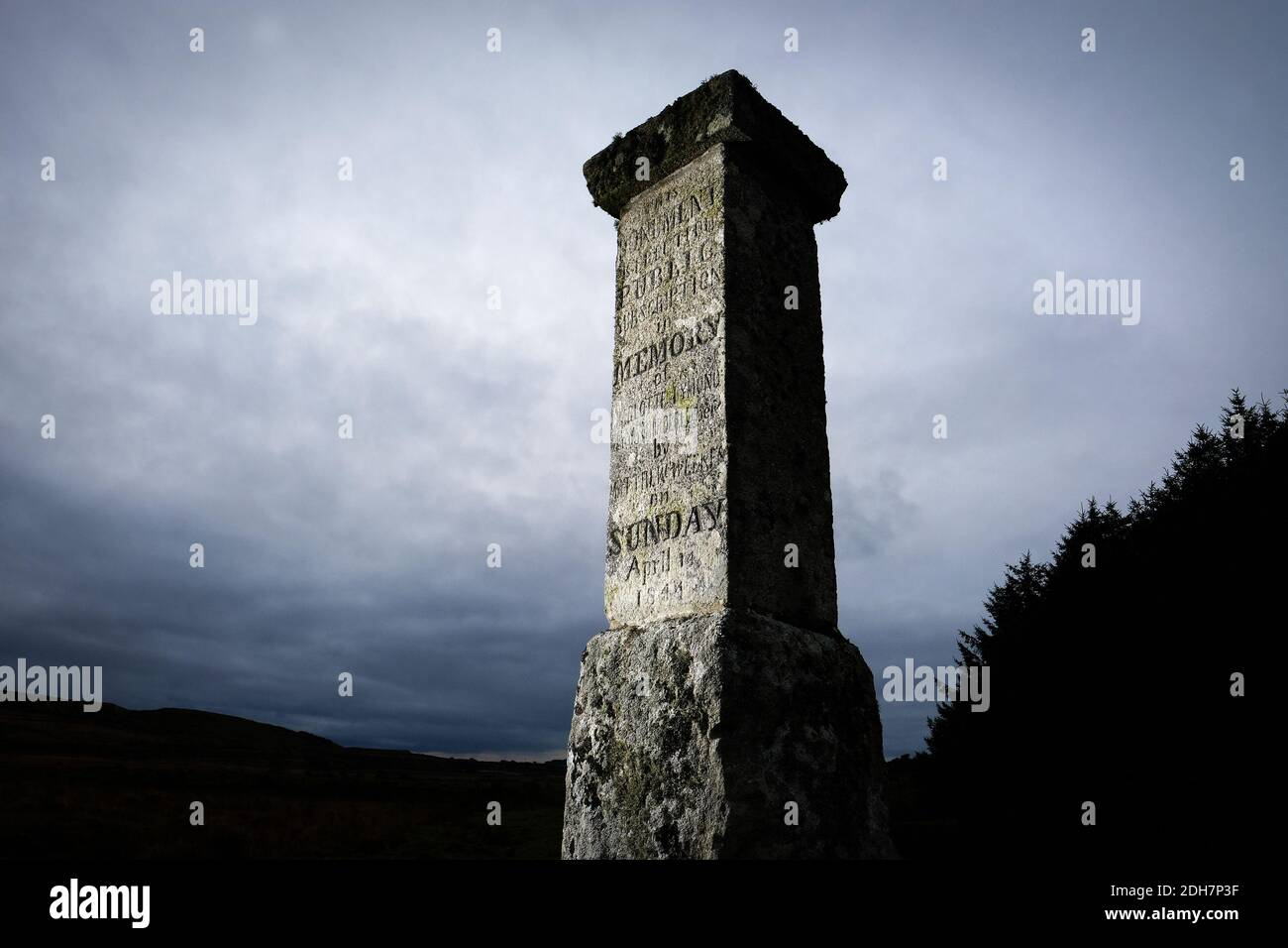 A monument below Showery Tor and Rough Tor on Bodmin Moor, said to mark the spot where Charlotte Dymond was murdered in 1844.Thursday 12th November 2020. Stock Photo