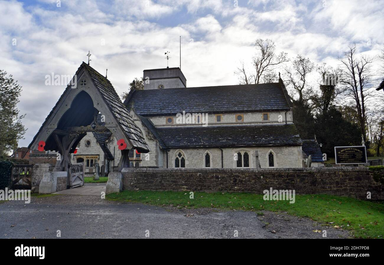 GV of St. Michael's Church, Church Street, Betchworth, featured in Four Weddings and a Funeral, Thursday 12th November 2020. Stock Photo