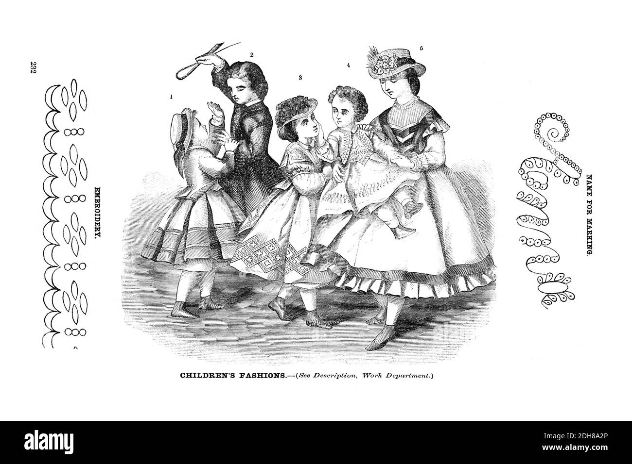Godey's children's Fashion for March 1864 from Godey's Lady's Book and Magazine, March 1864, Philadelphia, Louis A. Godey, Sarah Josepha Hale, Stock Photo