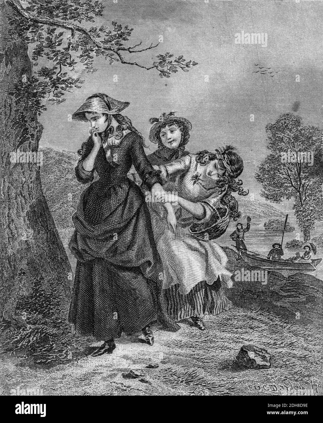 Girls play outdoors Artwork from Godey's Lady's Book and Magazine, 1880, Published in Philadelphia, USA by Louis A. Godey, Sarah Josepha Hale, Stock Photo