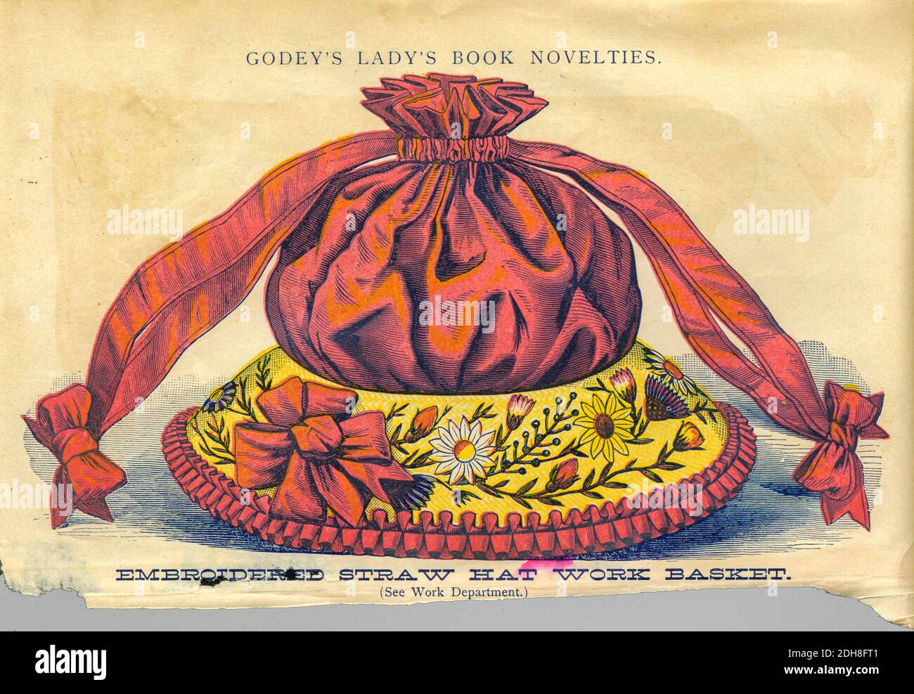 Embroidered straw hat work basketFrom Godey's Lady's Book and Magazine, Vol 101 July to December 1880 published in Philadelphia Stock Photo