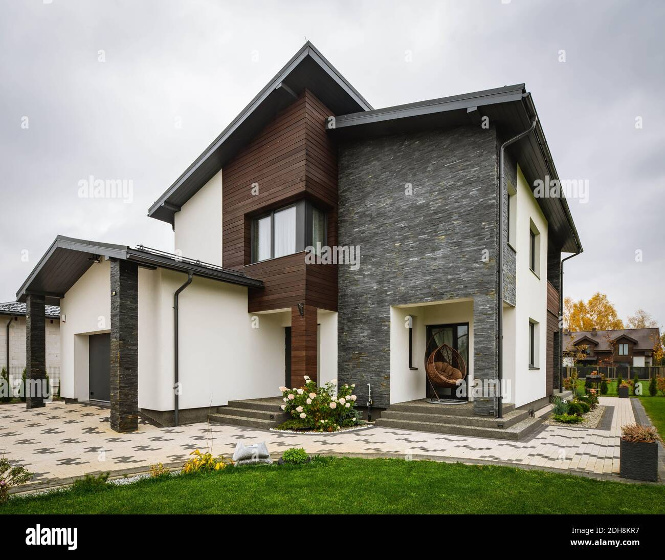 Luxury new private house. Scandinavian style. Grey, white and ...