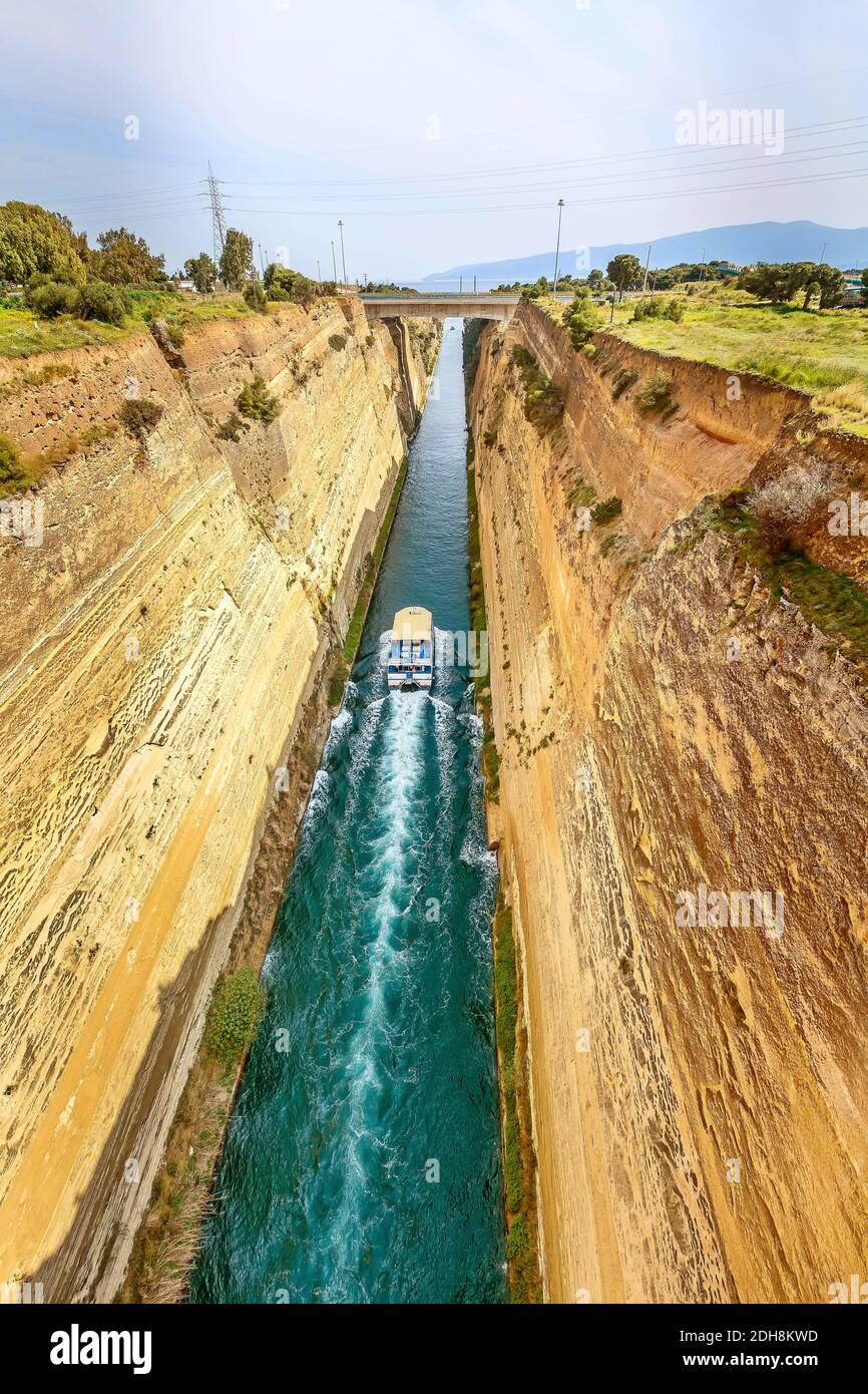 Ship passing Corinth Canal in Greece Stock Photo