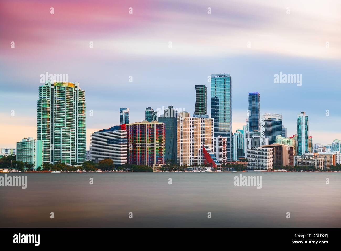 Miami, Florida, USA downtown city skyline on Biscayne Bay at twilight. Stock Photo