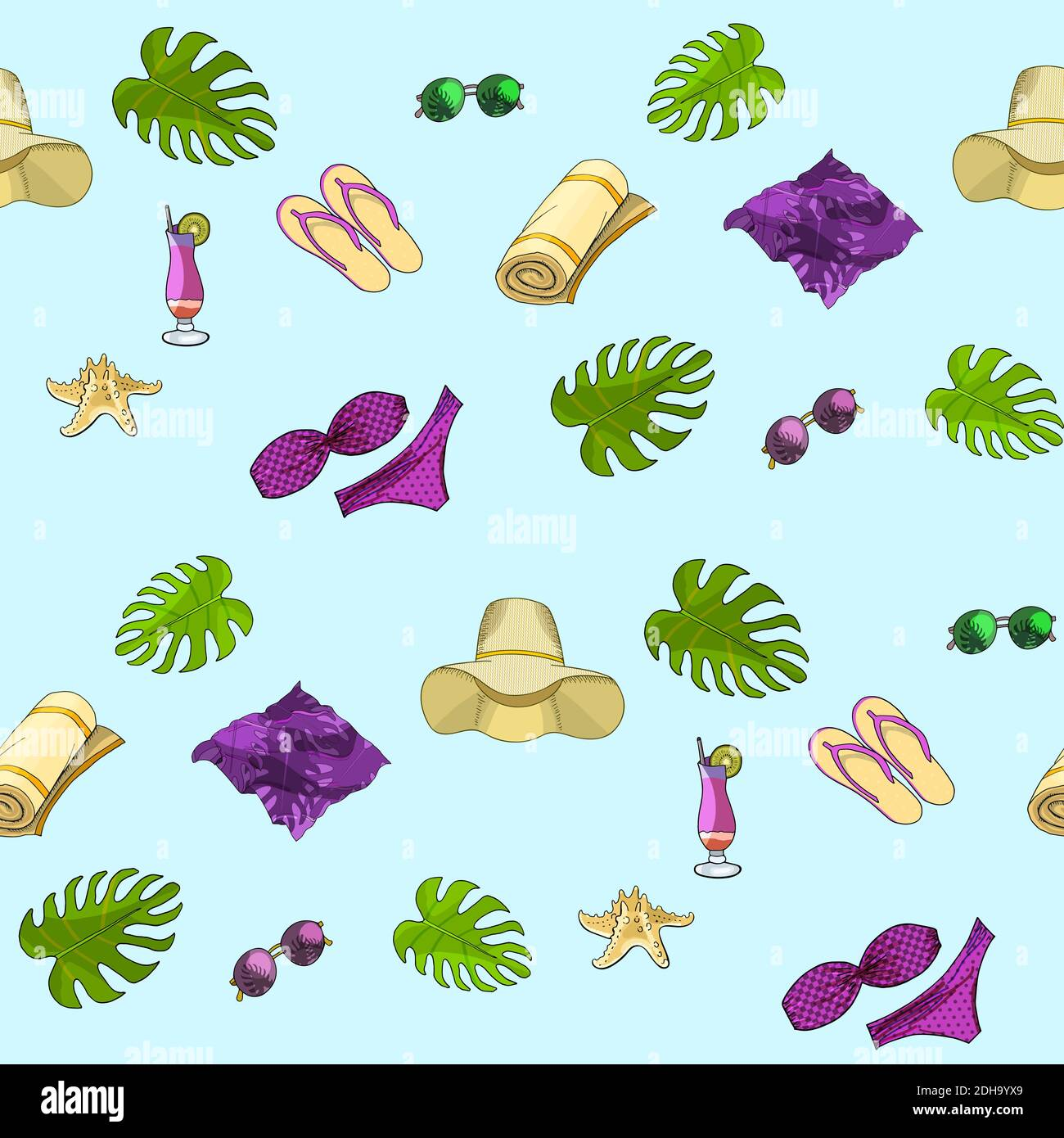 Summer beach seamless pattern. Vector hand drawn illustration Stock Vector