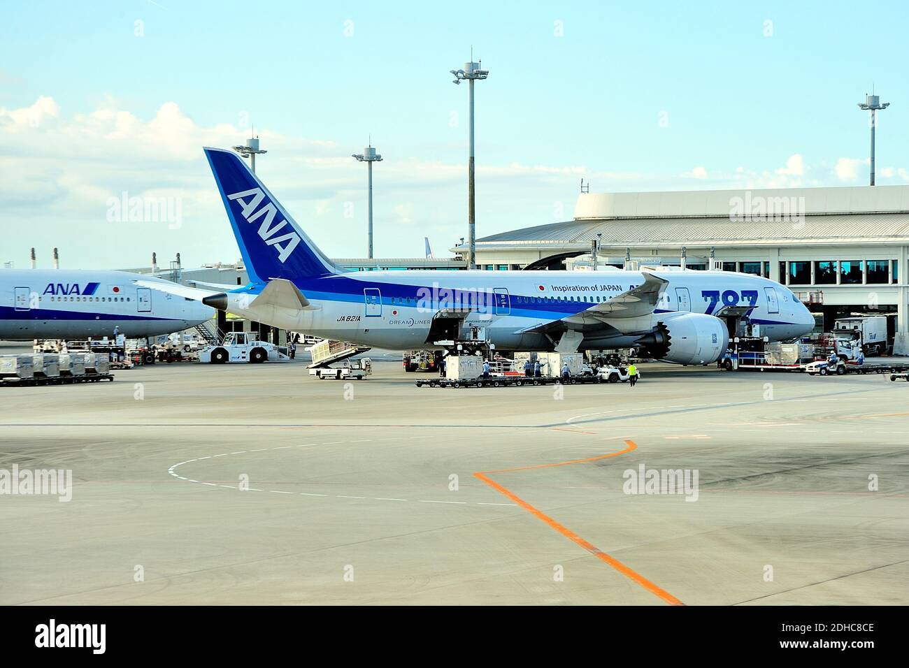 All Nippon Airways, ANA, Boeing, B-787-8, JA821A, At Gate, Naha Airport, Naha, Okinawa, Ryukyu Islands, Japan Stock Photo