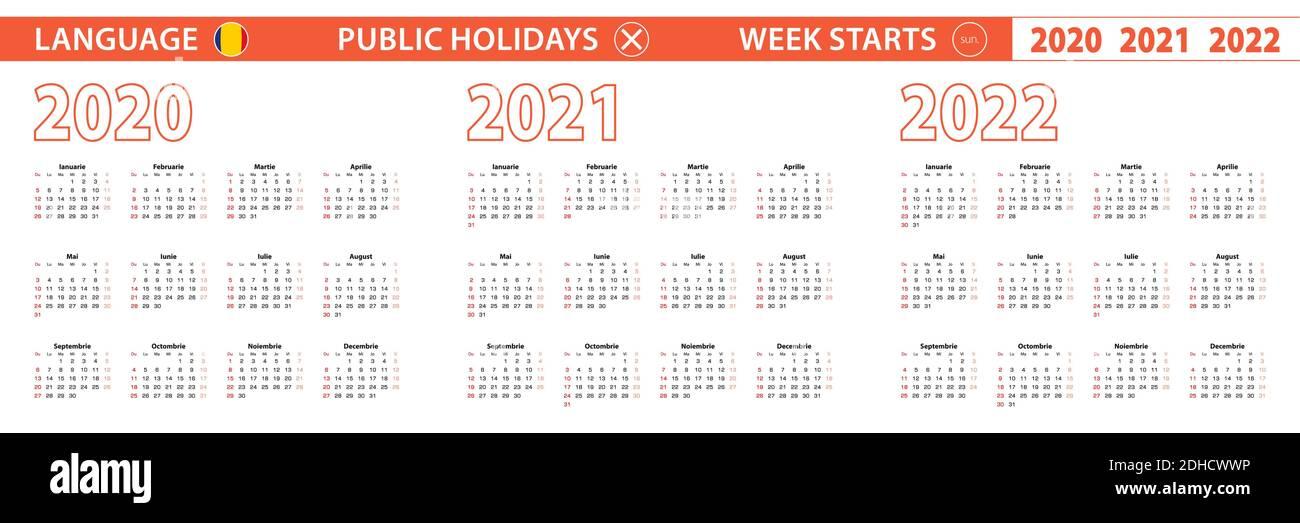 2020 2021 2022 Year Vector Calendar In Romanian Language Week Starts On Sunday Vector Calendar Stock Vector Image Art Alamy