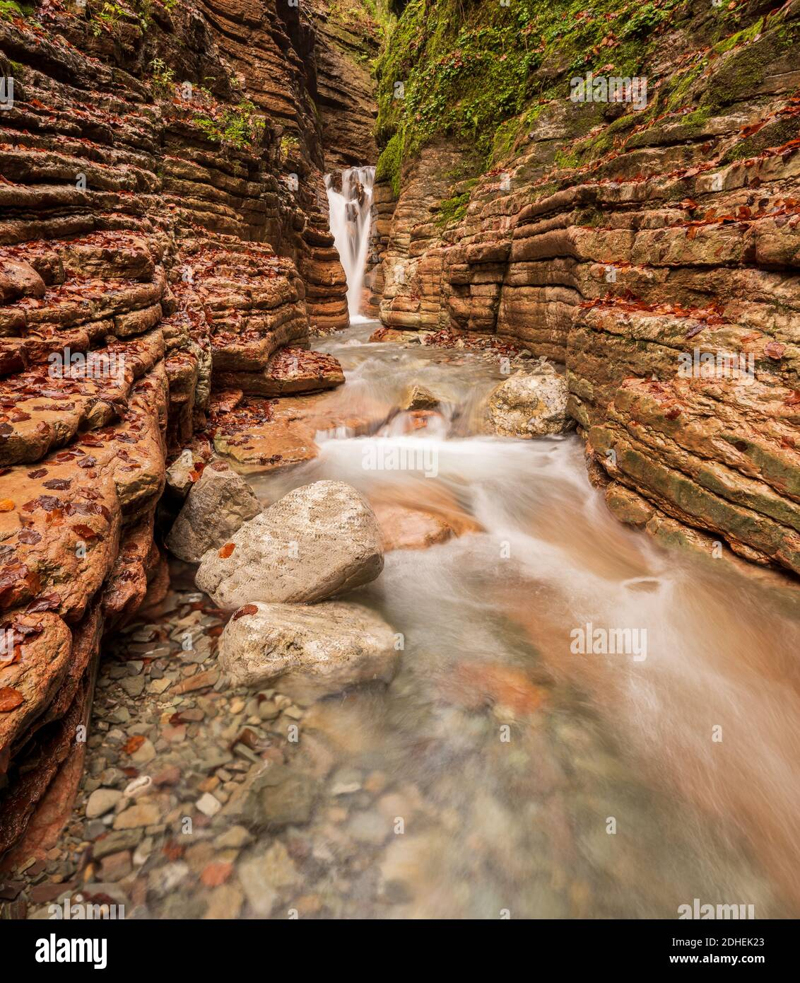 A vertical shot of a wild mountain river in Salzburg called Taugl Stock Photo