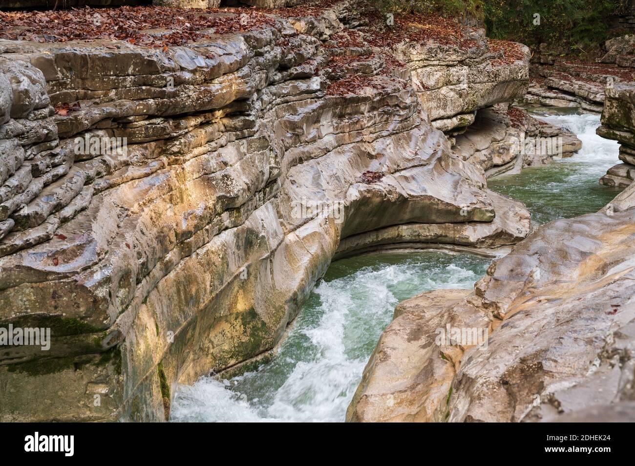 A beautifu shot of a wild mountain river in Salzburg called Taugl Stock Photo